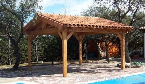 Pergolas y porches cenadores de madera en madrid for Techados para coches